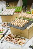 pic of banquet  - Holiday Appetizers banquet table setting in restaurant - JPG
