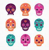 image of day dead skull  - colorful patterned skull set - JPG