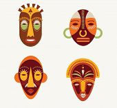 image of african mask  - African masks set of icons - JPG
