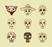 foto of day dead skull  - hand drawn doodles - JPG
