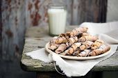 foto of bagel  - Homemade bagels with nuts  on wooden table - JPG