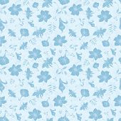 image of crocosmia  - Vector Blue Tropical Flowers Texture Seamless Pattern graphic design - JPG