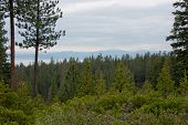 stock photo of snow capped mountains  - Newberry National Volcanic Monument - JPG