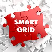 pic of smart grid  - Smart Grid on Red Puzzle on White Background - JPG