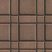 stock photo of paving  - Large Quadratic Brown Pattern Paving Slabs Built of Small Squares and Rectangles - JPG