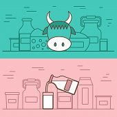 stock photo of milk  - Milk products vector concept with flat objects - JPG