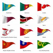 stock photo of flags world  - Set  Flags of world sovereign states triangular shaped - JPG