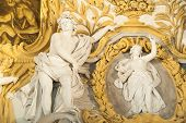 stock photo of vicenza  - White stone sculptures of the baroque Leone Montanari palace 1678 in Vicenza - JPG