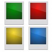 picture of polaroid  - Set Color Retro Photo Frame Polaroid  On White Background - JPG