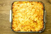 picture of lasagna  - Lasagna with crispy cheese crust in the form of a glass baking - JPG
