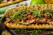 picture of cheese-steak  - Steak sandwich with herbs lime and microgreens with little bit kick of hot sriracha souce - JPG