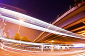 stock photo of hong kong bridge  - Traffic trails of double decker traveling on a busy road in Hong Kong  - JPG