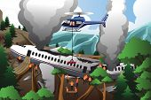 foto of rescue helicopter  - A vector illustration of rescue teams searching through destroyed airplane - JPG