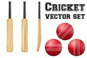 pic of cricket ball  - Set of Traditional wood cricket bats and balls - JPG