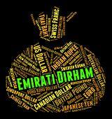 picture of dirham  - Emirati Dirham Representing United Arab Emirates And Exchange Rate - JPG