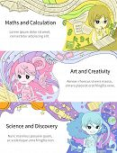 picture of fantasy  - Stylish info graphic cartoon girl children studying maths and calculation art and creativity science and discovery in artistic fantasy banner background template layout design create by vector - JPG