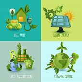 stock photo of fuel efficiency  - Ecology design concept set with bio fuel green energy eco production cartoon icons isolated vector illustration - JPG
