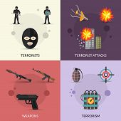 stock photo of terrorist  - Terrorism design concept set with terrorist attacks and weapons flat icons set isolated vector illustration - JPG