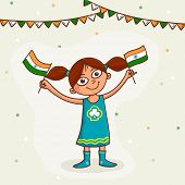 picture of indian independence day  - Cute little happy girl holding indian national flag and celebrating Happy Independence Day celebration on decorated background - JPG