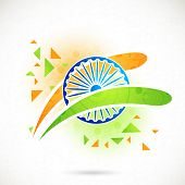 picture of ashoka  - Shiny Ashoka Wheel with national flag colors stripes on floral design decorated background for Indian Independence Day celebration - JPG