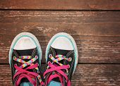 picture of pink shoes  - a wide angle photo of a pair of generic looking shoes like converse sneakers with pink shoe laces on a vintage wooden background  - JPG
