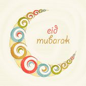 stock photo of eid festival celebration  - Beautiful crescent moon made by coloful spirals for Islamic holy festival - JPG