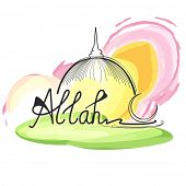 stock photo of allah  - Elegant greeting card design with stylish text Allah and crescent moon on mosque decorated background for Muslim community - JPG