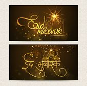 foto of eid festival celebration  - Beautiful website header or banner set with golden wishing text Eid Mubarak in Hindi and mosque for Muslim community festival - JPG