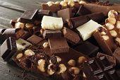stock photo of hazelnut  - Set of chocolate with hazelnut - JPG