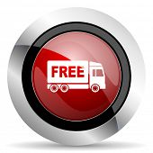 stock photo of free-trade  - free delivery red glossy web icon original modern design for web and mobile app on white background  - JPG