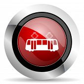picture of tram  - tram red glossy web icon original modern design for web and mobile app on white background  - JPG