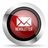image of newsletter  - newsletter red glossy web icon original modern design for web and mobile app on white background  - JPG