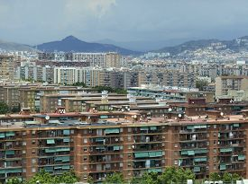foto of suburban city  - Houses and apartments in Suburban sprawl of the City of coastal Barcelona - JPG