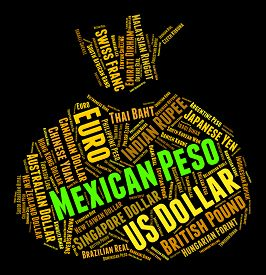 stock photo of pesos  - Mexican Peso Representing Forex Trading And Pesos - JPG