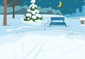 Постер, плакат: Hand drawn cartoon of winter landscape Cartoon of winter background Background of winter park Car