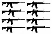 stock photo of uzi  - Vector set of guns silhouette on the white background - JPG