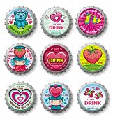 Valentine's day bottlecaps - icons