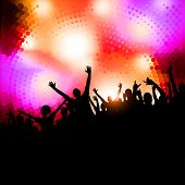 Large crowd of party people - vector background.