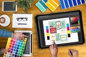 Creative Designer Graphic Designer At Work. Color Swatch Samples, Illustrator Graphic Designer Worki poster