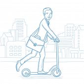 Постер, плакат: Happy businessman riding a kick scooter Businessman with briefcase riding to work on scooter Busin