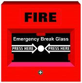 Vector Fire Alarm Emergency Break Glass Press Here warning tool device red box button for building s poster
