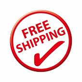stock photo of ship  - Button free shipping red for business - JPG