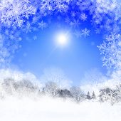 pic of winter landscape  - Abstract background with blue skies and sunshine - JPG