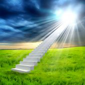 foto of stairway to heaven  - White ladder extending to a bright sky against a background of green grass - JPG