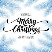 Merry Christmas, Happy New Year greeting card, poster template of blue snow frost pine, fir christma poster