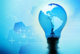 pic of united states map  - World in a light bulb - JPG