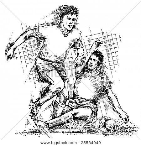 Постер, плакат: Рисование футболистов, холст на подрамнике