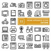 Home Appliance Line Icon Set, Household Symbols Collection, Vector Sketches, Logo Illustrations, Ele poster