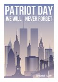 Patriot Day Poster With New York Skyline,twin Towers And Phrase We Will Never Forget. Usa Patriot Da poster