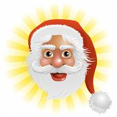 stock photo of santa claus hat  - An illustration of a happy Christmas Santa Claus face - JPG